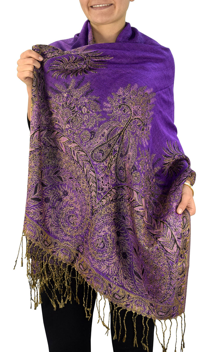 Soft Vintage Persian Paisley Printed Solid Pashmina Shawl Scarf