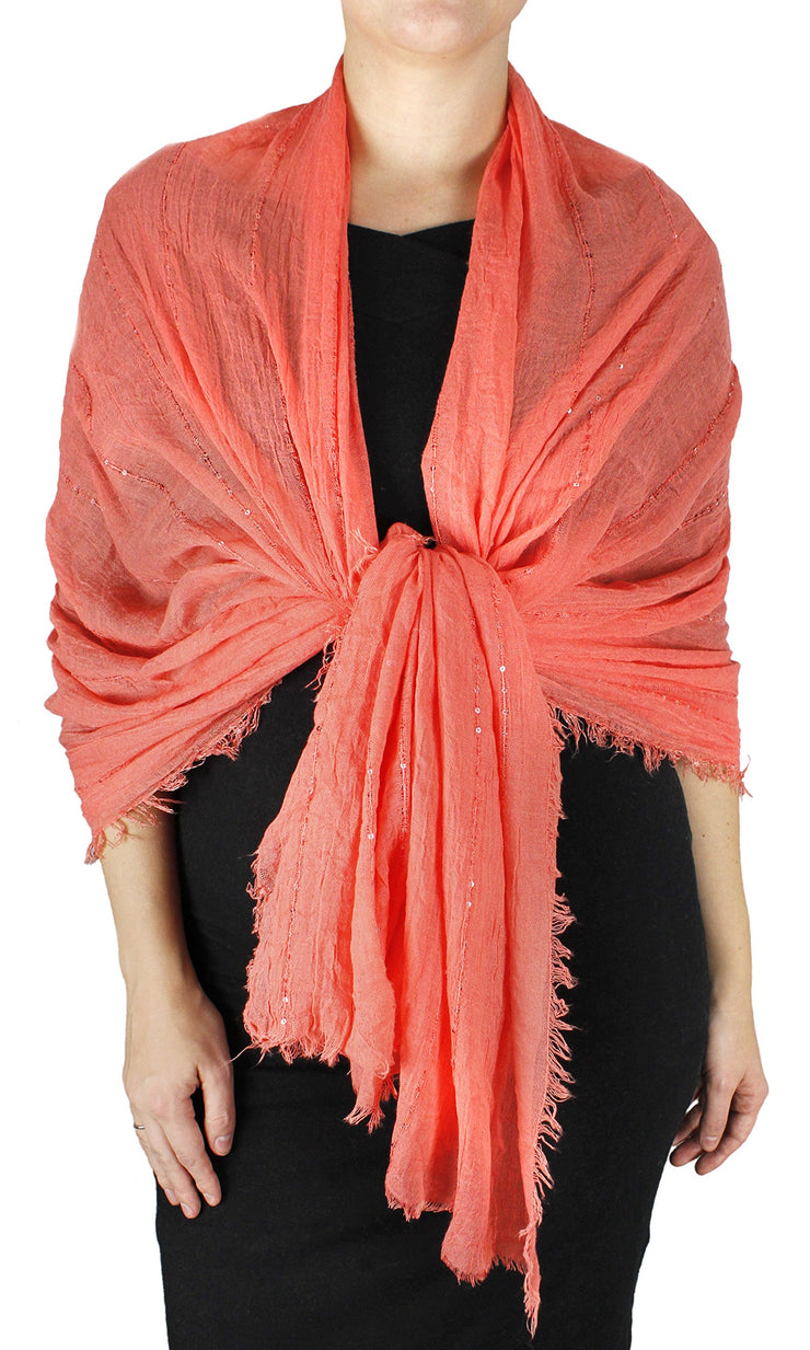 Women's Sparkle Sequin Bohemian Sheer Woven Knit Fringe Scarf