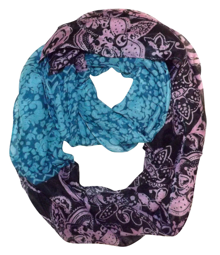 Turquoise Floral Peach Couture Women's Henna Tribal Floral Paisley Print Boho Infinity Scarf Loop