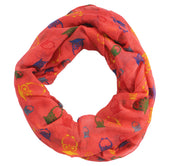 Peach Couture Stunning Colorful Lightweight Vintage Owl Print Infinity Loop Scarf