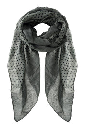 Chic Boho Soft Lightweight Polka Dot Bordered Sheer Scarf Shawl