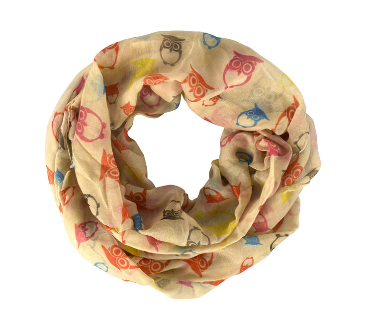 Soft Lightweight Vintage Owl Bird Sheer Scarf Infinity Loop
