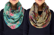 Cherry Blossom Scarf Floral Scarf Infinity Scarf Green Infinity Scarf Taupe Circle Scarf