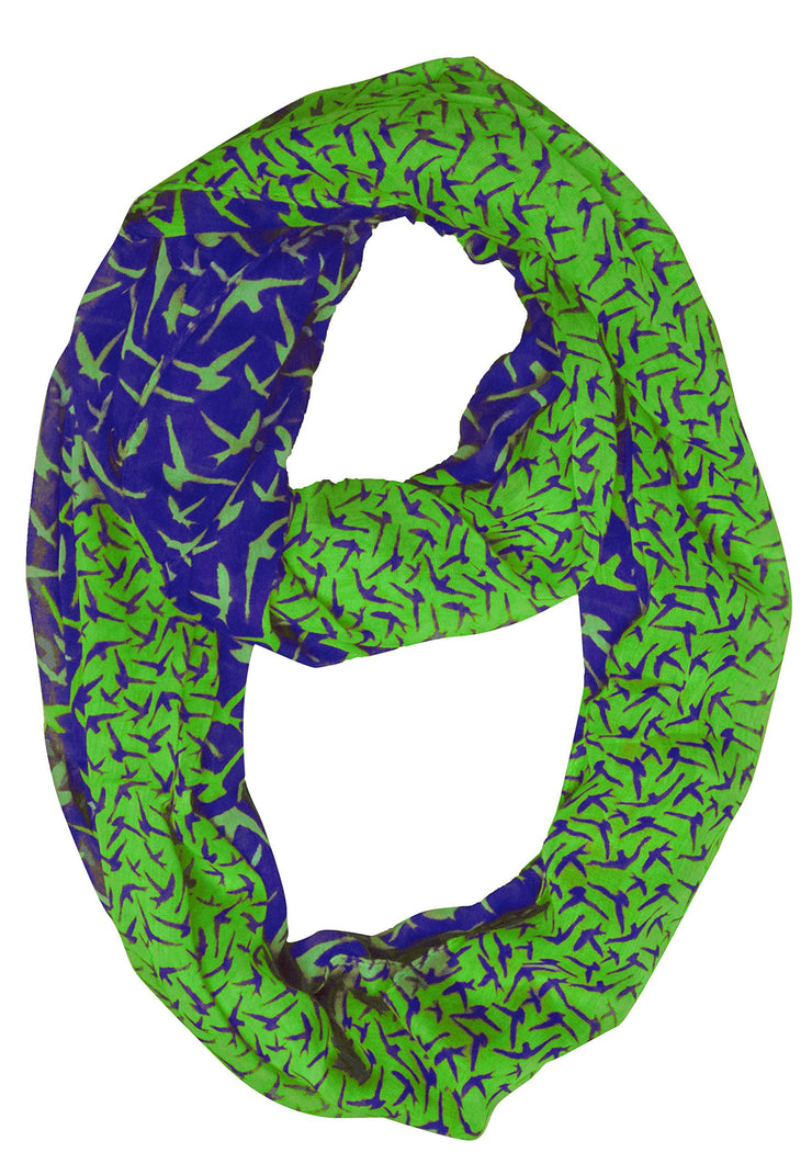 Navy/Green Peach Couture Beautiful Vintage Two Colored Bird Print Infinity Loop Scarf Scarves