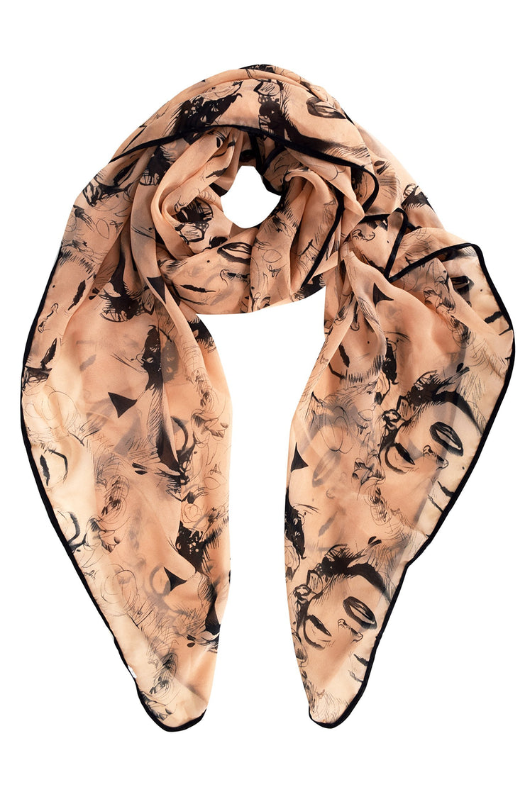 Peach Vintage Chiffon Feel Marilyn Monroe Design Scarf/wrap w/Silk Black Border
