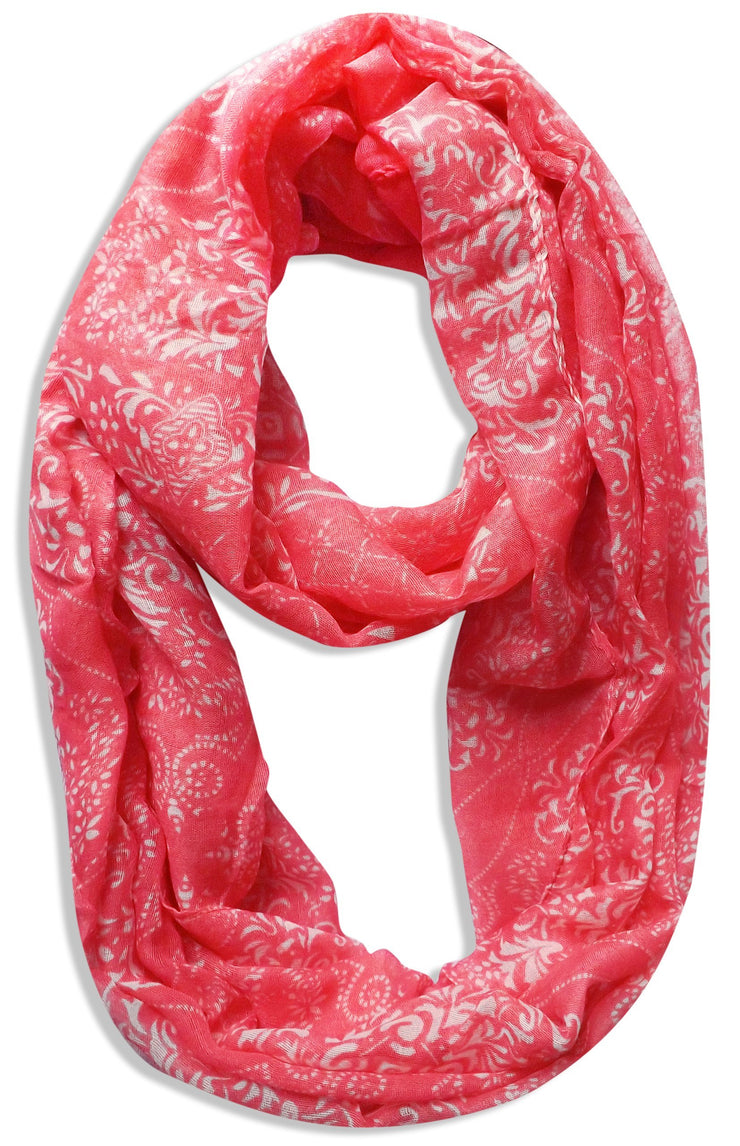 Coral Peach Couture Womens Boho Floral Paisley Sheer Infinity Scarf Loop Circle Scarf