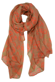 Peace-Sign-Scarf-Tan-Orange-FB