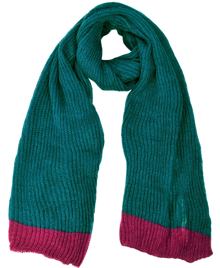 Teal and Hot Pink Peach Couture Loose Border Hand Knit Warm Scarf