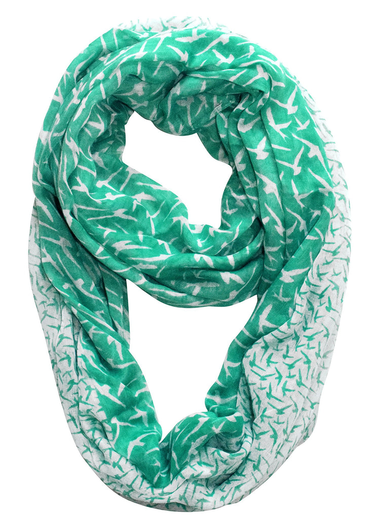 Teal/White Peach Couture Beautiful Vintage Two Colored Bird Print Infinity Loop Scarf Scarves