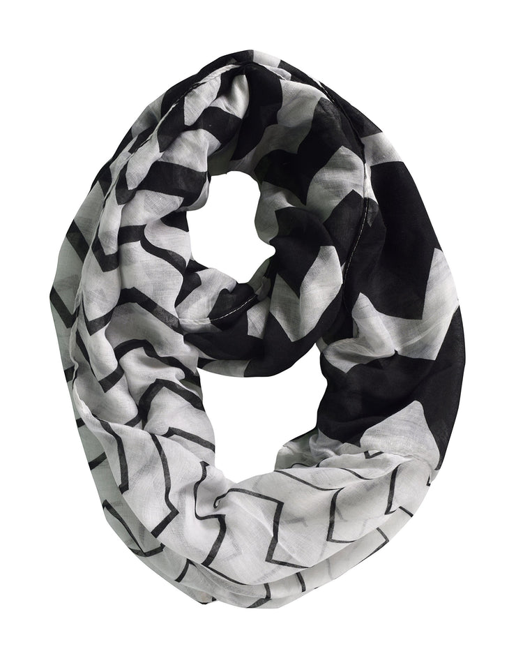 White Black Peach Couture Modern Radiant Multicolored Chevron Geometric Infinity Loop Scarf