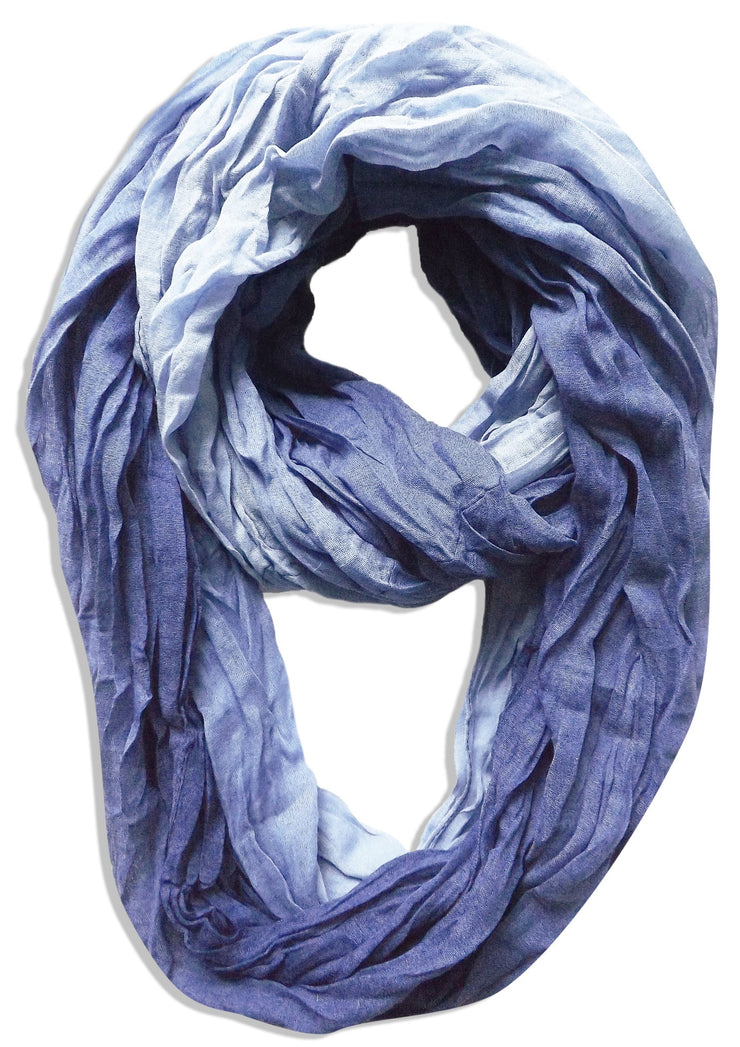 Ombre Baby Blue Peach Couture Fashion Lightweight Crinkled Infinity Loop Scarf Neon Faded Ombre