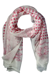 Polka Dot Paisley Bordered Eyelash Fringe All Season Scarf