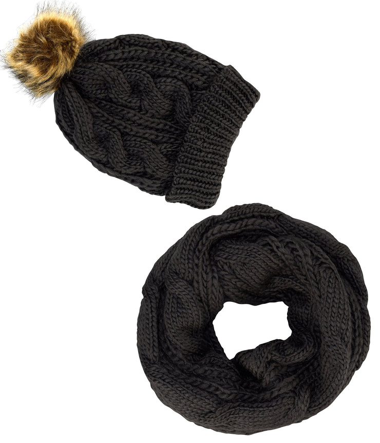 A7097-2Pair-Cable-Hat-Scarf-Black-KL