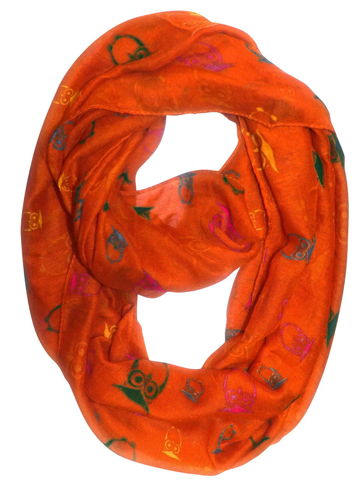 Orange Peach Couture Stunning Colorful Lightweight Vintage Owl Print Infinity Loop Scarf