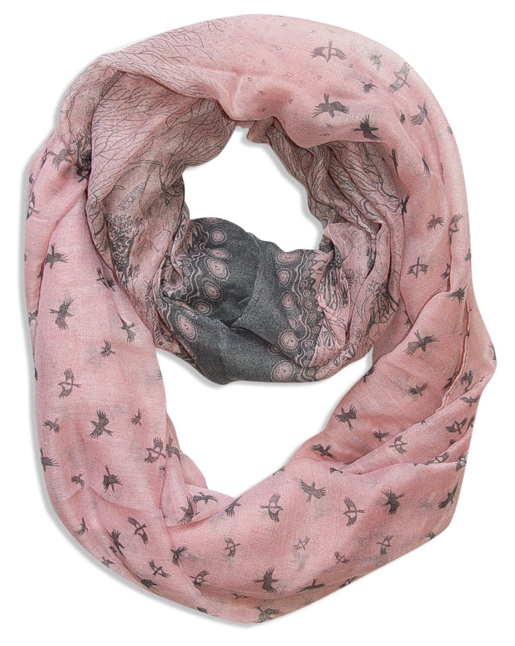 Pink/Grey Peach Couture Beautiful Vintage Two Colored Bird Print Infinity Loop Scarf Scarves
