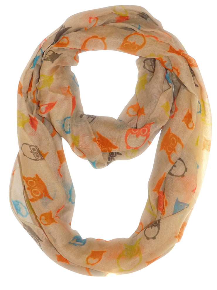 Tan Peach Couture Stunning Colorful Lightweight Vintage Owl Print Infinity Loop Scarf
