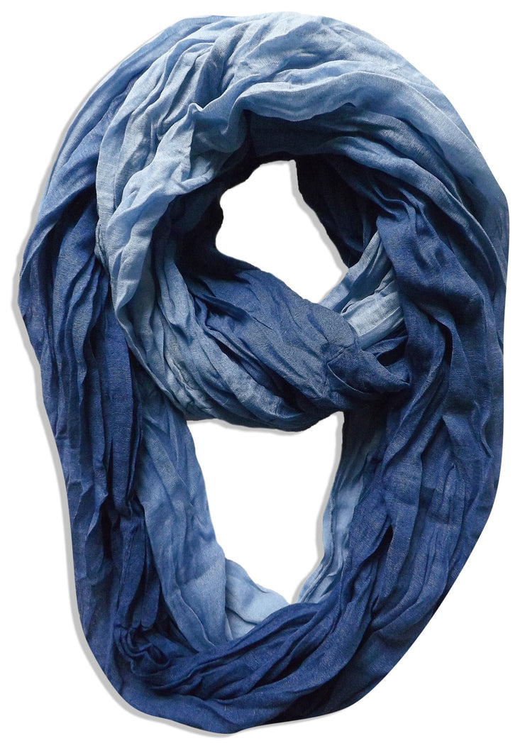 Ombre Navy Peach Couture Fashion Lightweight Crinkled Infinity Loop Scarf Neon Faded Ombre