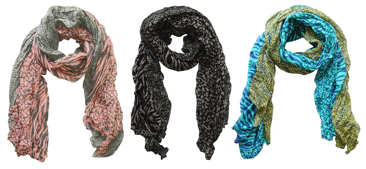 Grey/pink, Grey/black, Teal/yellow Peach Couture All Seasons Retro Zebra and Leopard Print Crinkle Scarf