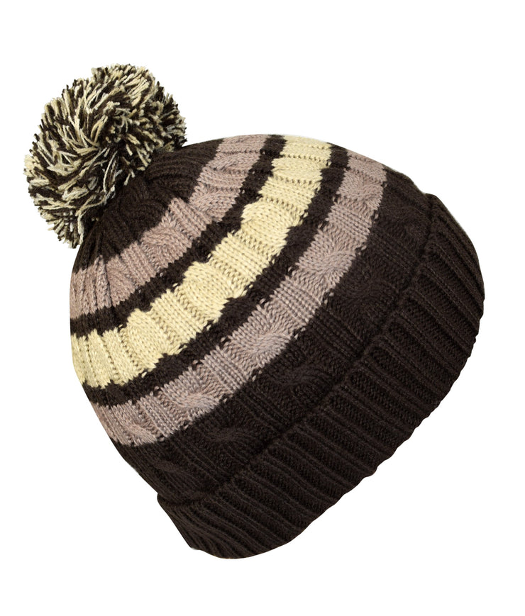 Classic Warm Adorable Kids Striped Cable Knit Winter Pom Pom Hat Brown