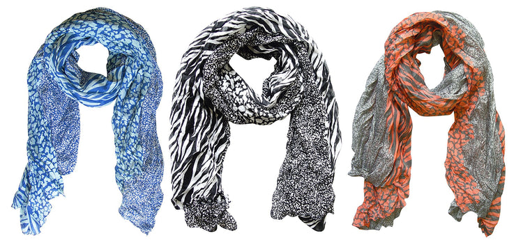 Blue/white, Black/white, Grey/salmon Peach Couture All Seasons Retro Zebra and Leopard Print Crinkle Scarf