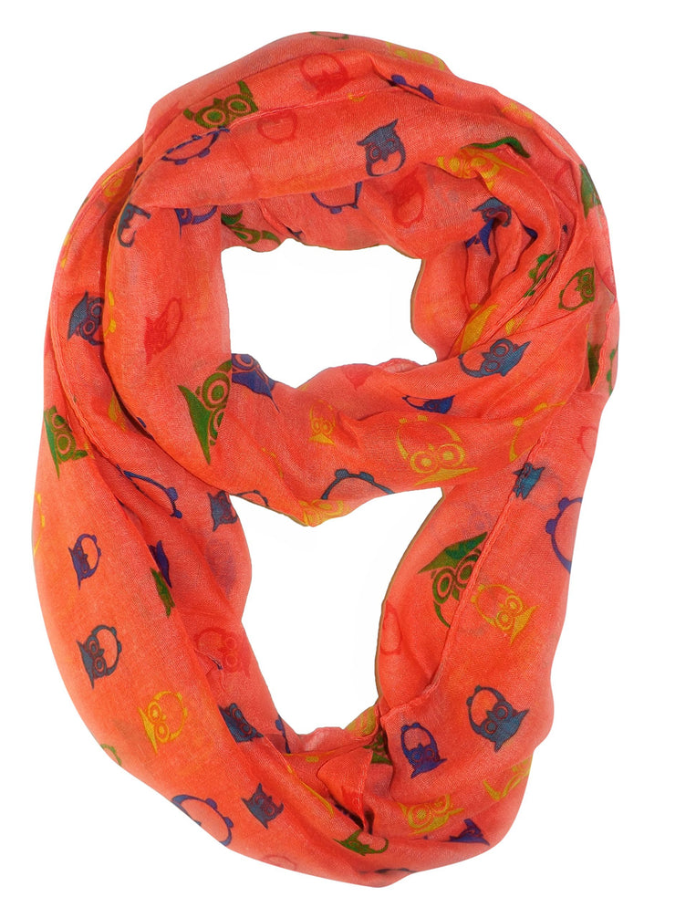 Coral Peach Couture Stunning Colorful Lightweight Vintage Owl Print Infinity Loop Scarf