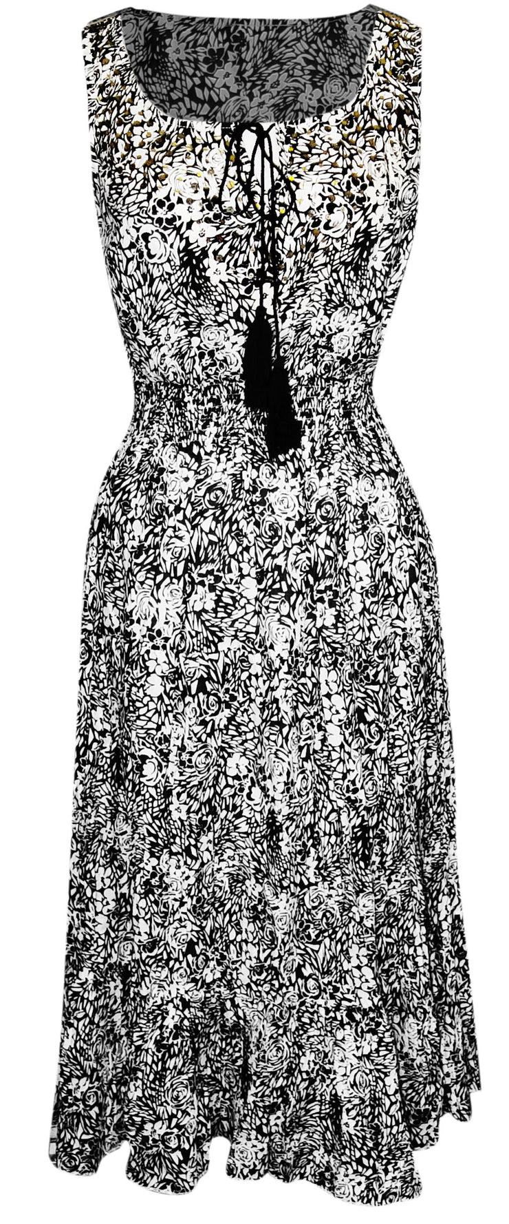 A1569-Floral-Sparkle-Dress-Black-Lar-KL