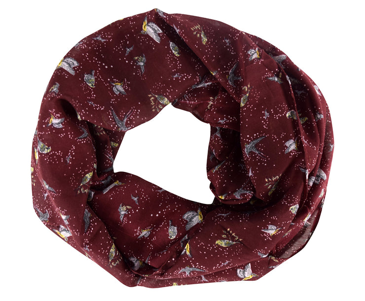 Summer Fashion Womens Chic Bird Print Infinity Scarves