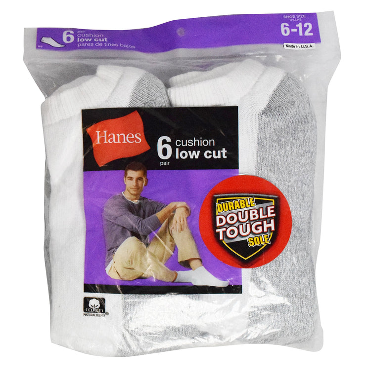 Hanes Men's Full Cushion Low Cut Value 6 pack Socks (White and Grey, Size 6-12)