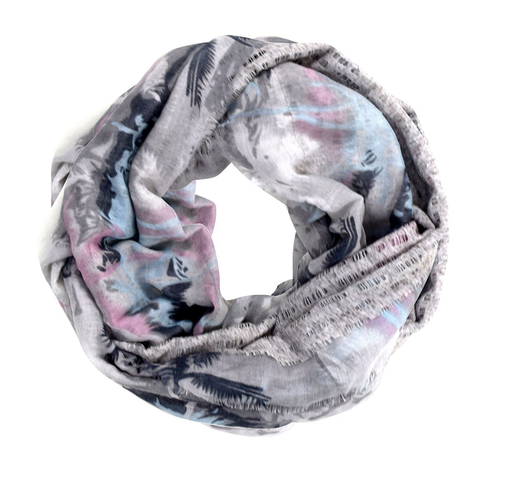 Tropical Print Double Layer Infinity Loop Circle Scarf Grey