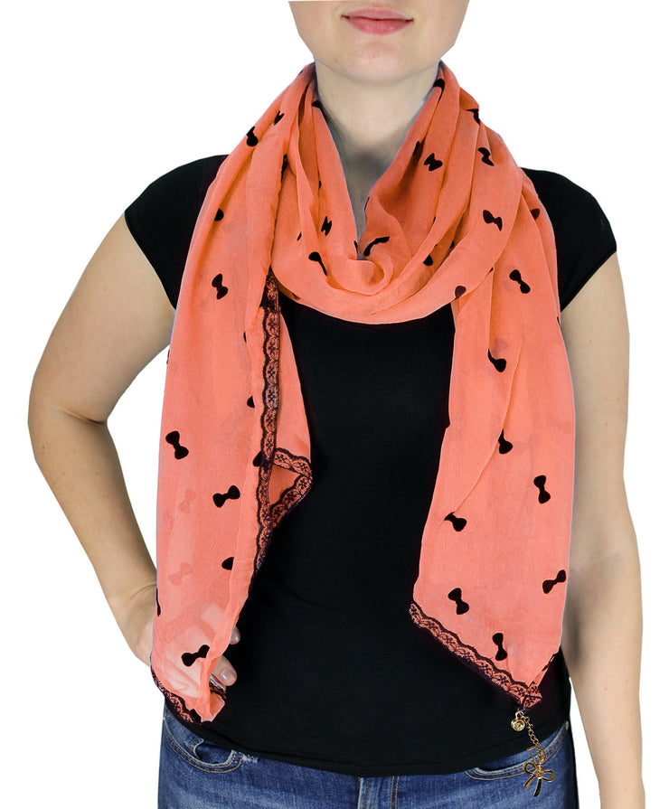 Coral Bow Vintage Nautical Anchor Print Multi-color Scarf