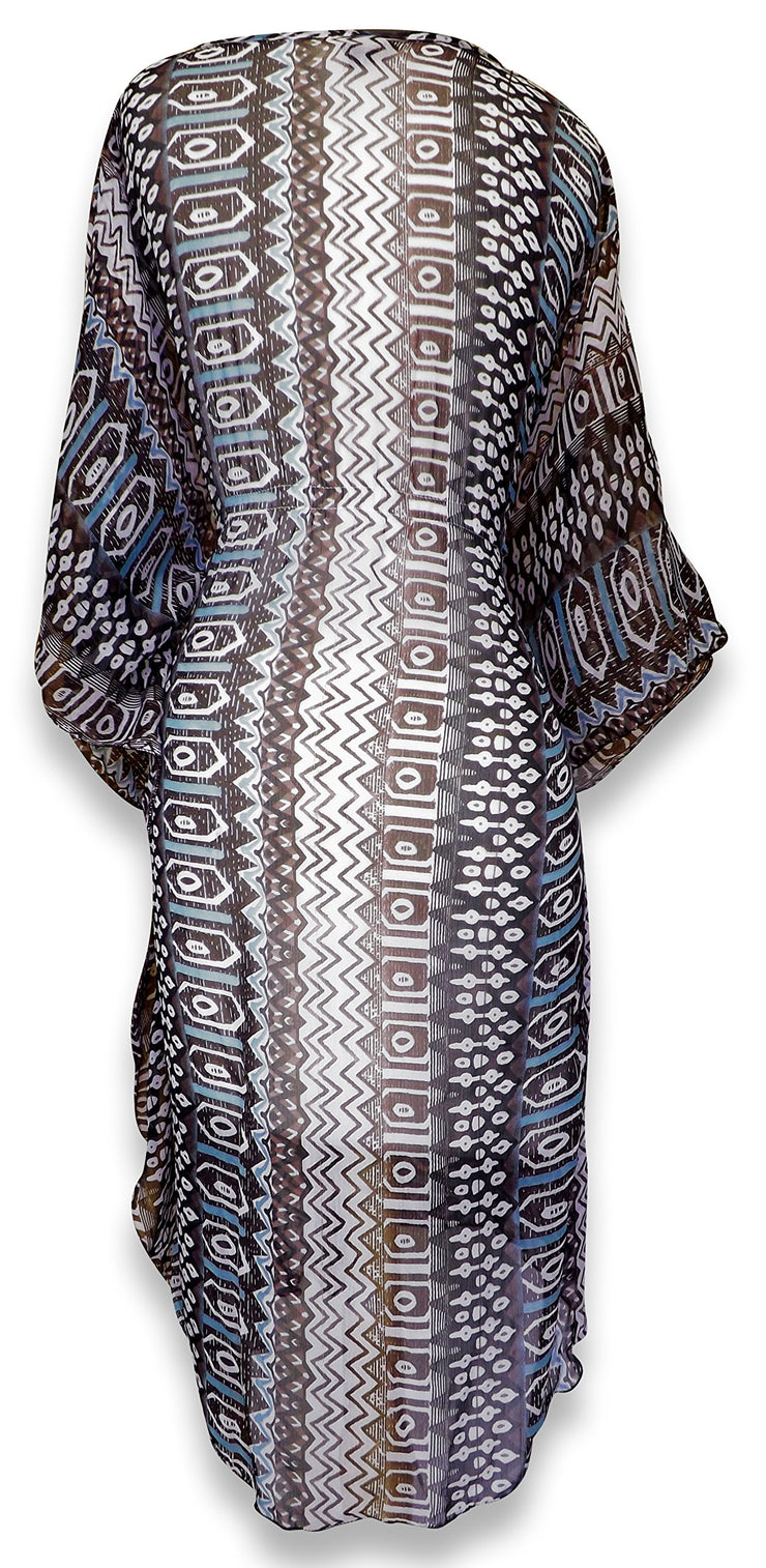 Light Weight Geometric Tribal Print Long Sleeve Fabric Belt Summer Tunic Mini dress Tribal Brown Medium