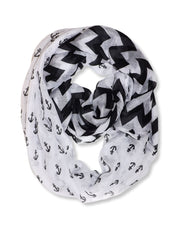Peach Couture All season Infinity Loop Scarves Chevron Anchor Print
