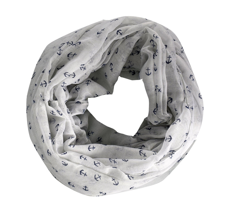Peach Couture Anchor Print Cute Trendy All season Infinity Loop Scarves