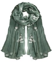 All Seasons Floral Embroidered Flower Summer Shawl Scarf Wrap