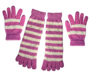 Winter Warm Striped Fuzzy Toe Socks and Gloves Pack