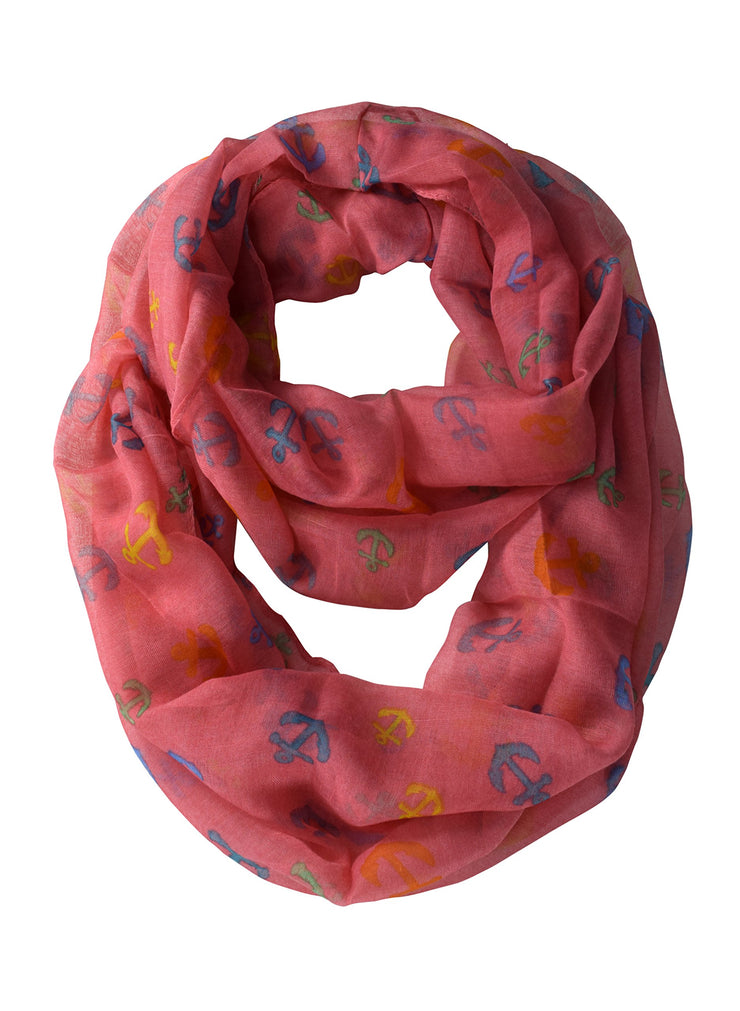 Peach Couture All season Infinity Loop Scarves Rainbow Anchor Print