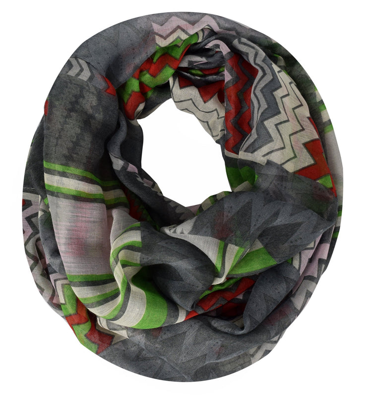 Red Grey Peach Couture Womens MultiColor Chevron Soft & Sheer Infinity Scarf Circle Loops