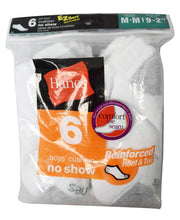Hanes Boy's No Show Reinforced Heel and Toe Value 6 pack (White, Size 9 Medium)