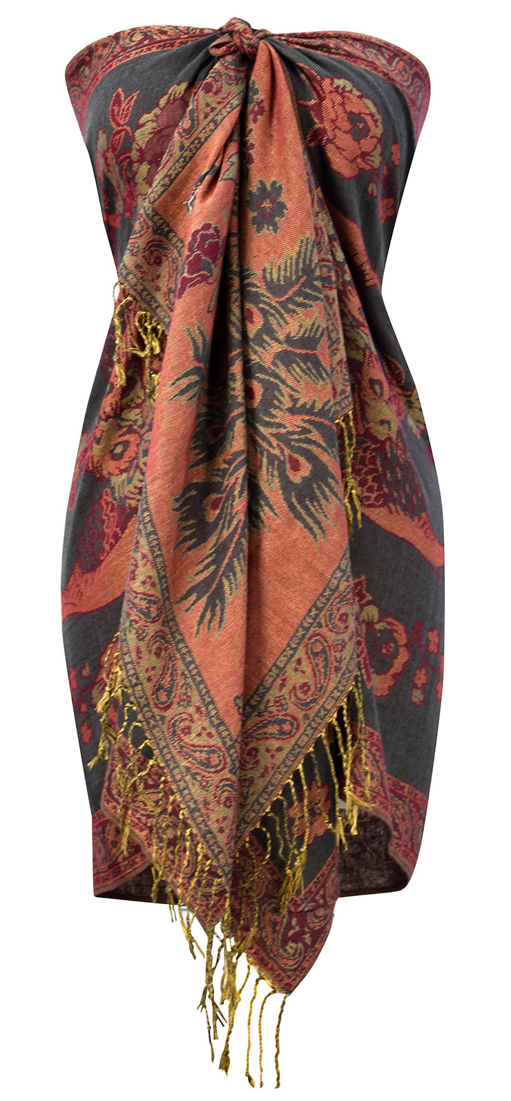 Peacock Reversible Floral Shimmer Layered Pashmina Wrap Shawl Scarf