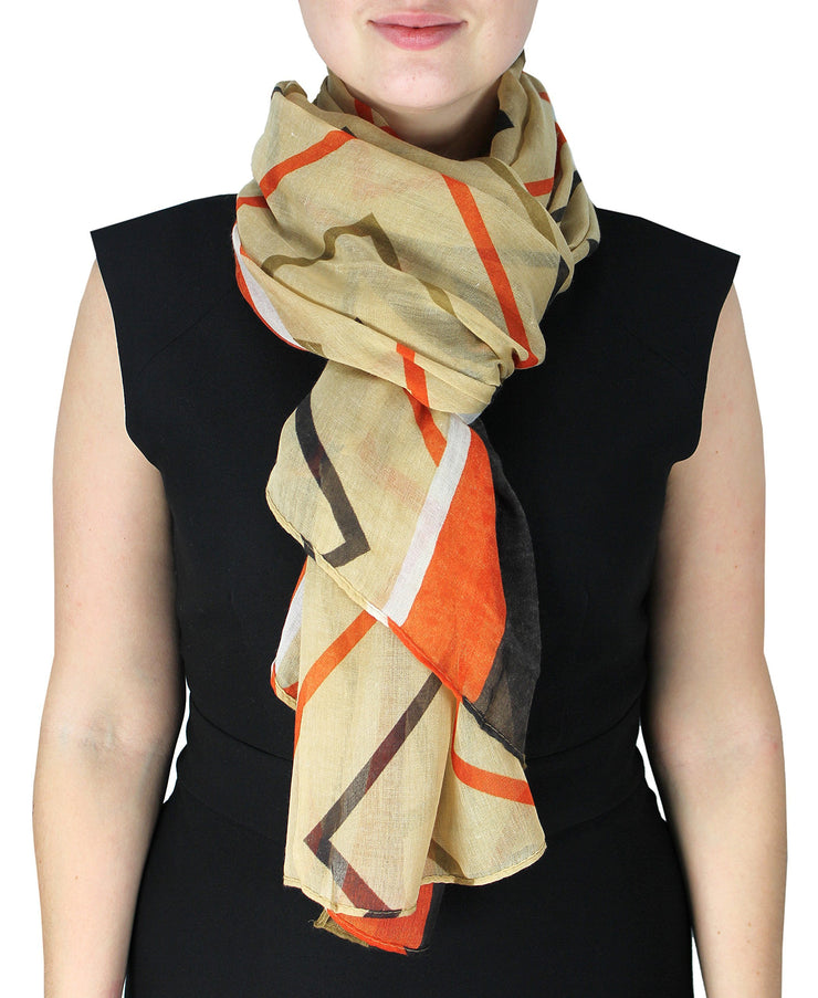 Brown and Orange Fun Sheer Multicolored Striped Chevron Design Scarf/wrap w/Colorful Border