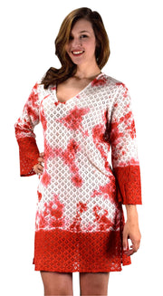 A9871-Lace-CoverUp-Tunic-Red -LXL-KN