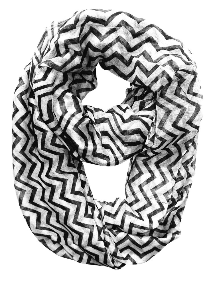 Black & White Peach Couture Beautiful Classic Lightweight Sheer Chevron Infinity Loop Scarf