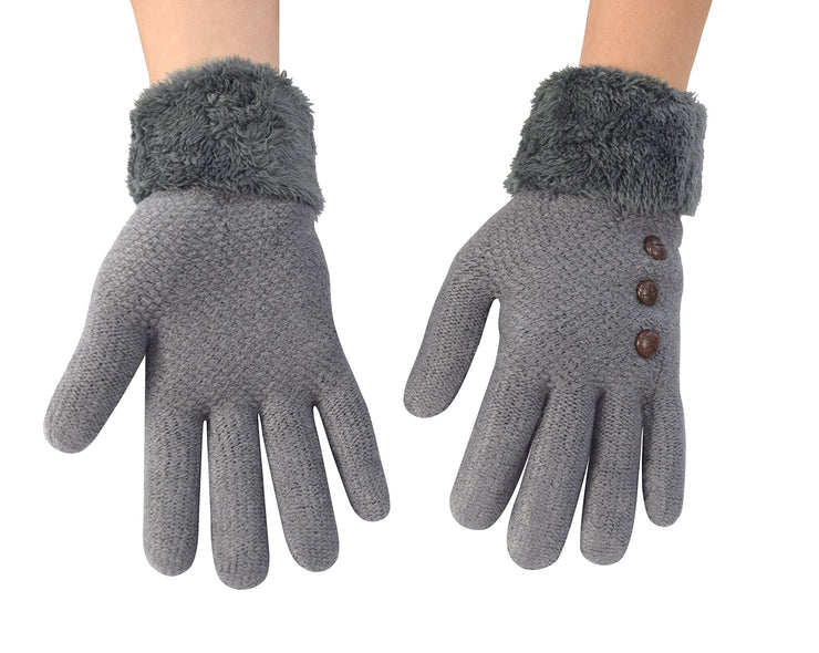 Cable Knit Plush Fleece Lined Double Layer Winter Gloves