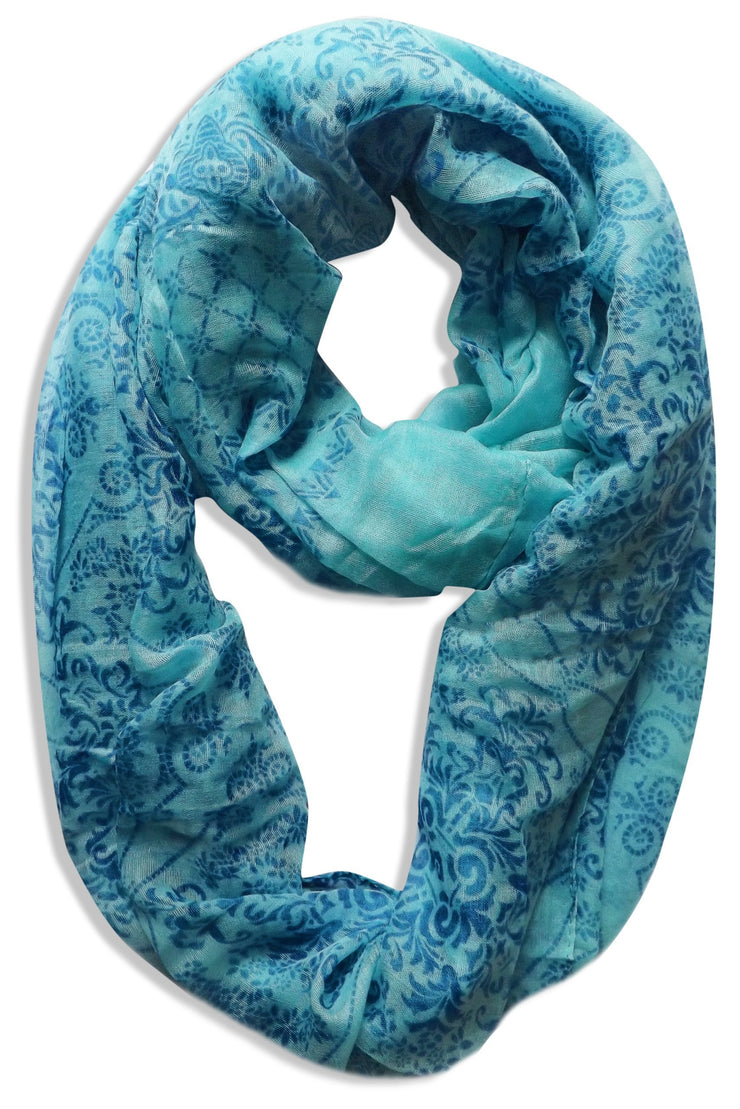 Blue Peach Couture Womens Boho Floral Paisley Sheer Infinity Scarf Loop Circle Scarf