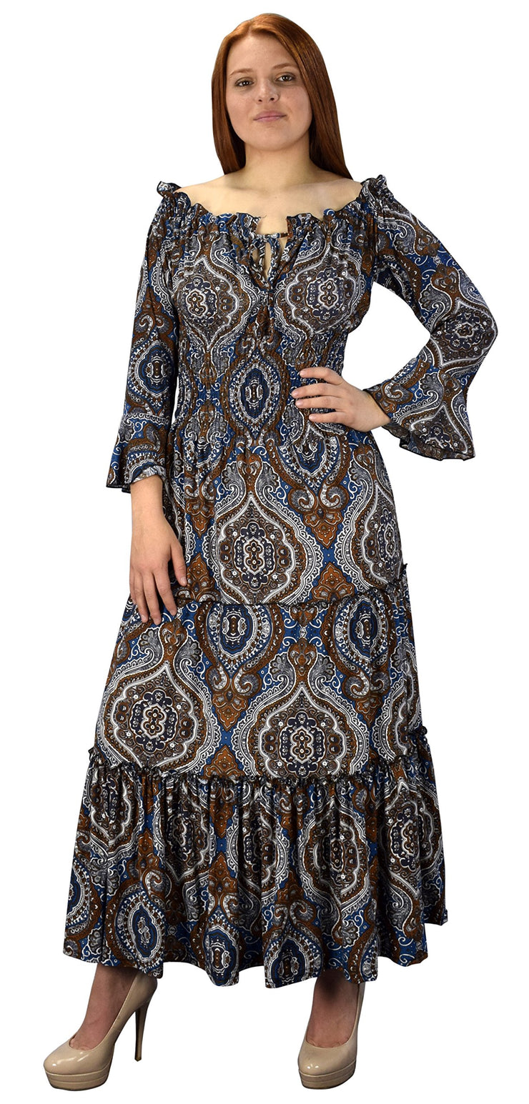 B5769-002-3-GypsyDress-Blue/Brn-Xl-AJ