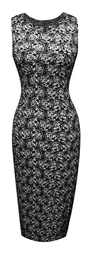 A1589-Floral-BodyconDress-Black-Med-JG