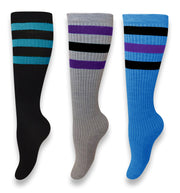 Living Socks Old School Retro Winter Knee High Lined Ribbed Tube Socks - 3 Pack