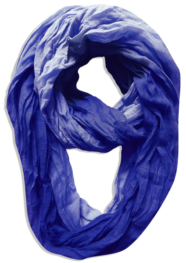 Ombre Royal Blue Peach Couture Fashion Lightweight Crinkled Infinity Loop Scarf Neon Faded Ombre