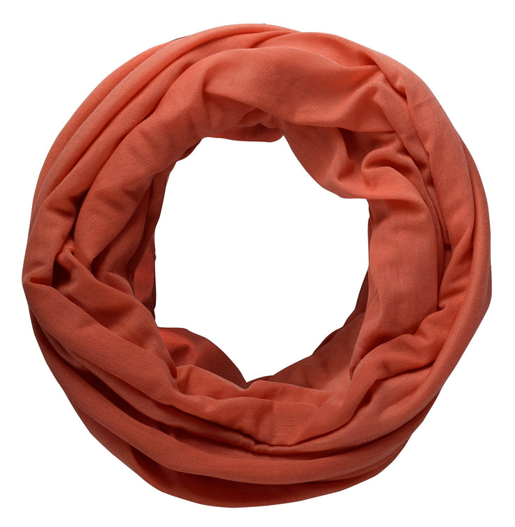 Coral Peach Couture Cotton Soft Touch Vivid Colors Lightweight Jersey Knit Infinity Loop Scarf