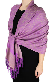 Double Layer Hues of Purple Jacquard Paisley Pashmina Feel Shawl Light Purple